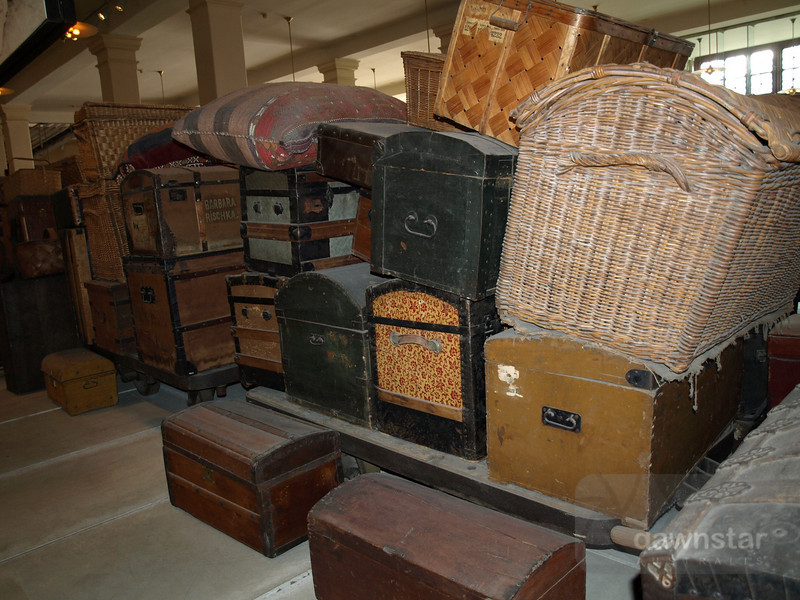 Travel trunks from those that made it to Ellis Island