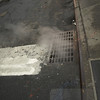 Steam escaping from under the street