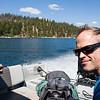 Josh on the boat to Elephants Perch, Idaho, USA