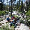 Mark, Josh and Tully on the approach to Elephants Perch, Idaho, USA
