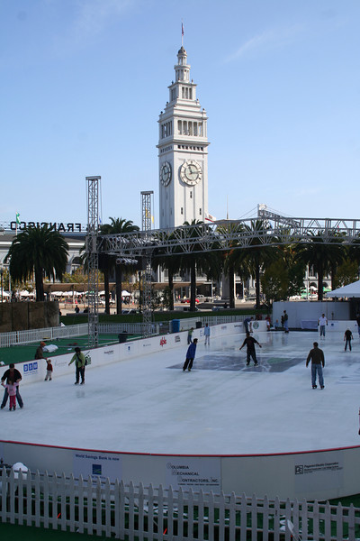 The Embarcadero Centre ice skating rink and the Ferry Building