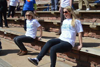 32 - Sarah and Heather working out at Red Rocks