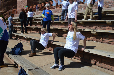 31 - Sarah and Heather working out at Red Rocks
