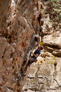 Ross on the classic Fuzzy undercling, 5.11b at Military wall.