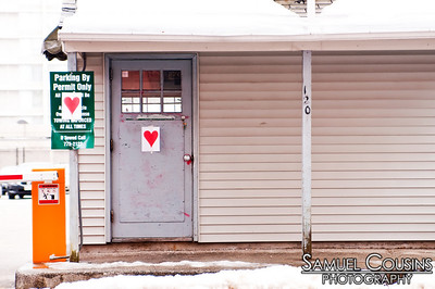 Portland Maine decorated in hearts by the Valentine's Day Bandit.