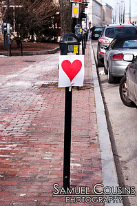 Hearts posted across Portland, Maine by the Valentine's Day Bandit.