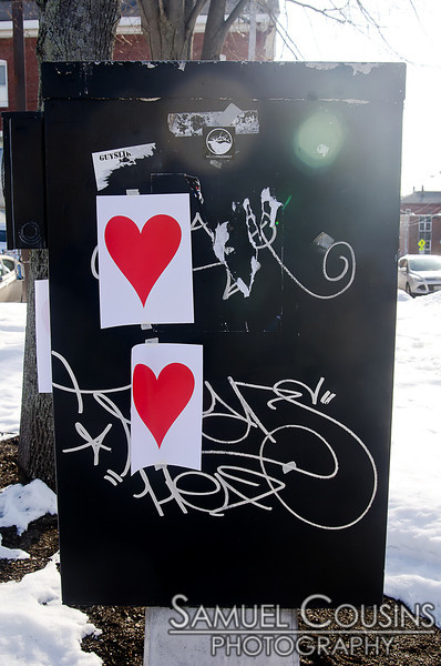 Hearts placed by the Valentine's Bandit in Portland, Maine in 2013