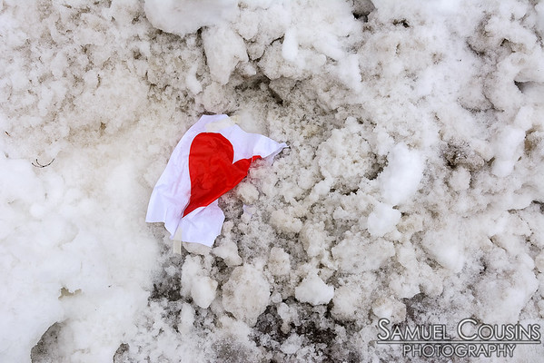 A heart that's fallen on the ground in Monument Square.