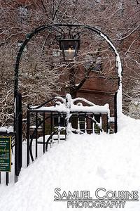 Snow buried gate at the First Parish Church