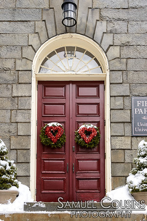 Hearts on the door of the First Parish Church