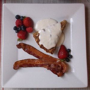 Vanilla Bread Pudding, with crispy bacon and fruit