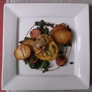 Sunshine Rainbow Frittata, Skillet Potatoes and Farmer Sausage