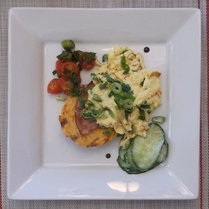 Cheese Biscuit, Scrambled Eggs, Black Forest Ham and Cucumber Refresher