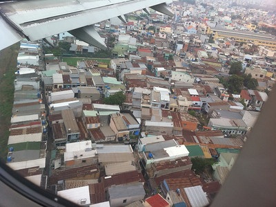 These must be noisy houses: just before landing at Saigon airport