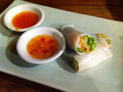 Rice paper rolls made by me - including the rice paper. Part of an excellent cooking class.