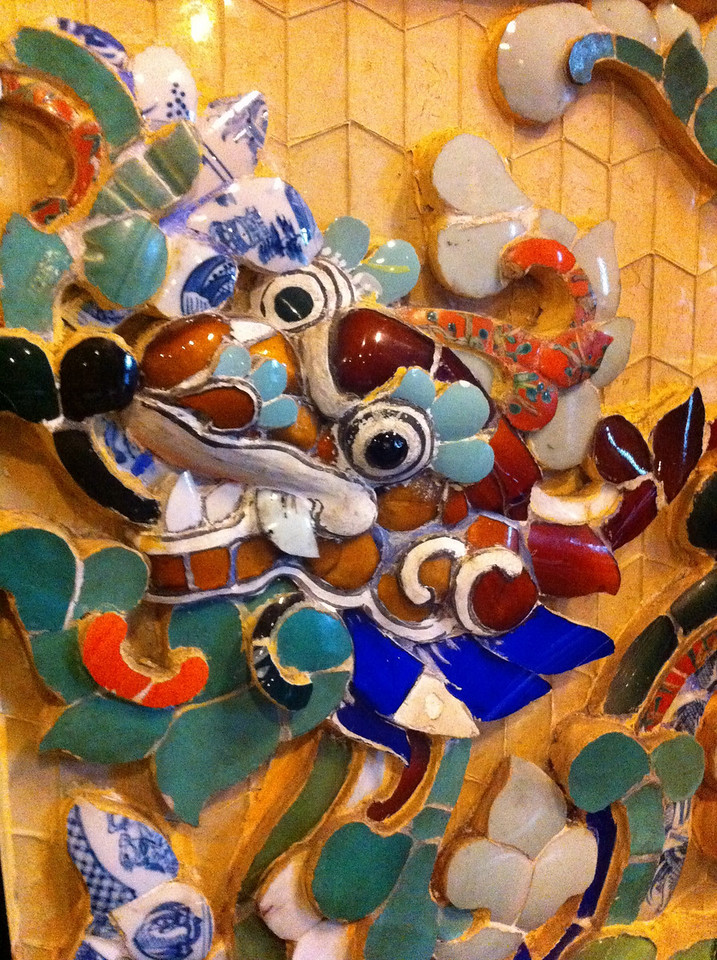 Detail of the amazing mosaics at the Khai Dinh mausoleum.