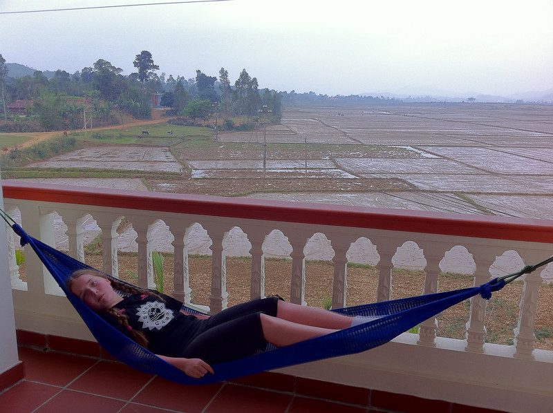 Chilling out at the Phong Nha farmstay. Wonderful view from the balcony.