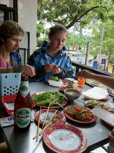 Lunch out of the rain at Lac Thien restaurant near the Hue citadel