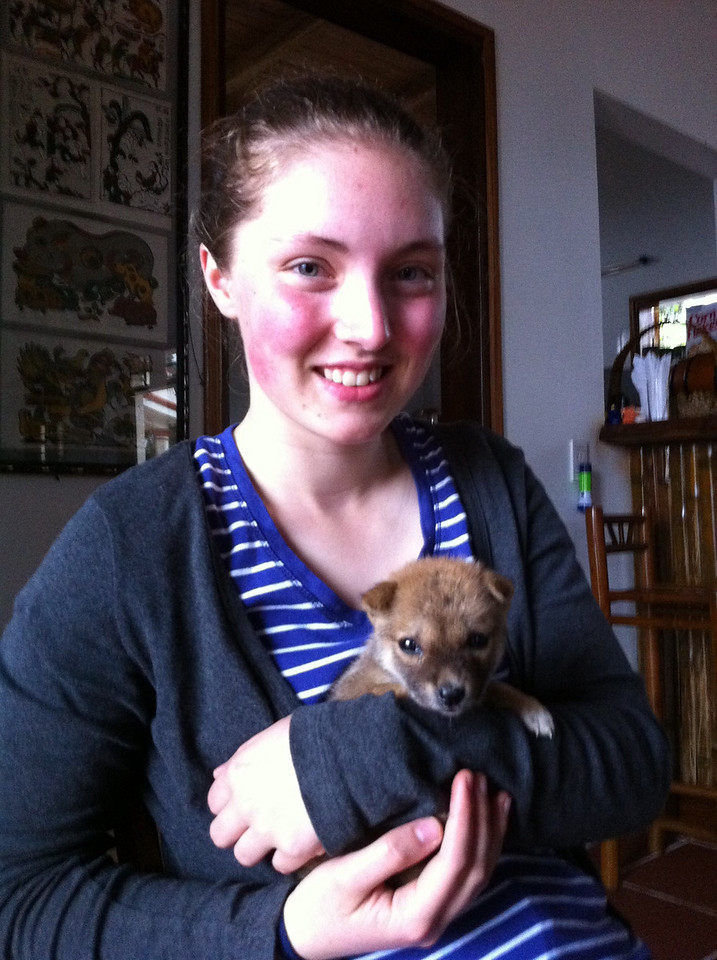 Rosie and very cute friend Ki. The dog was lucky not to end up in our luggage.