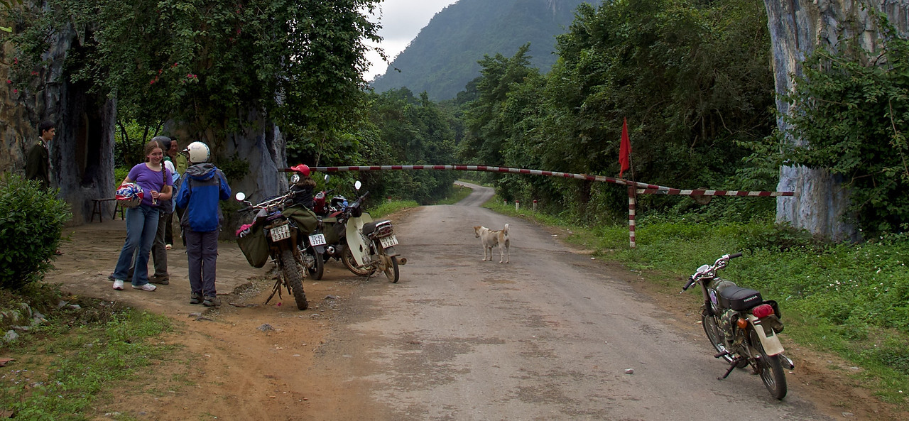 Gateway to Phong Nha National Park. We wait while negotiations take place as to whether we 'Westerners' can enter.