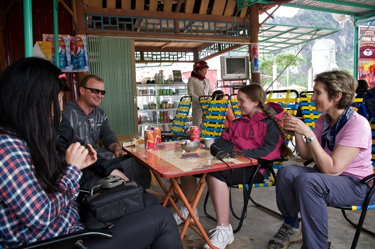 Coffee time before catching the boat to Phong Nha Cave