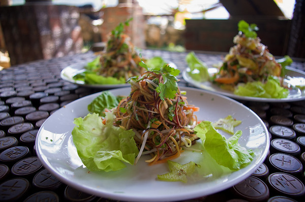 Second course: banana flower salad