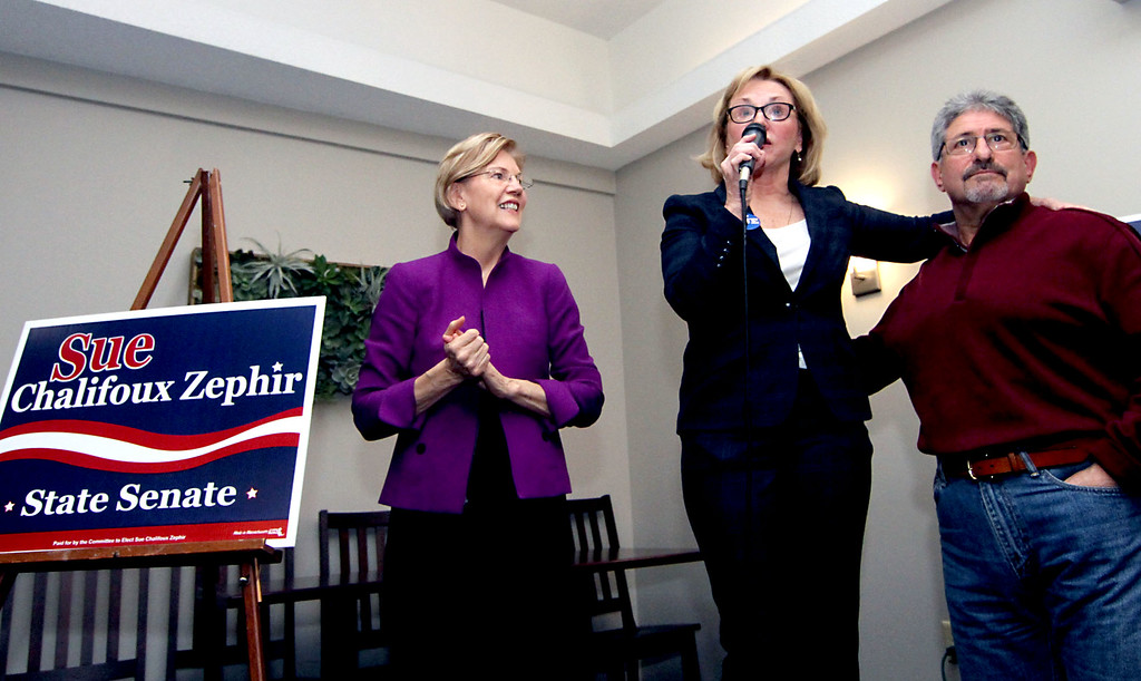 . Speaking at campaign rally at Slattery\'s Restauant is canadate Sue Chalifoux Zephir, middle, with Sen. Elizabeth Warren on left and Fitchburg Mayor Stephen DiNatale on right.SUN/David H. Brow