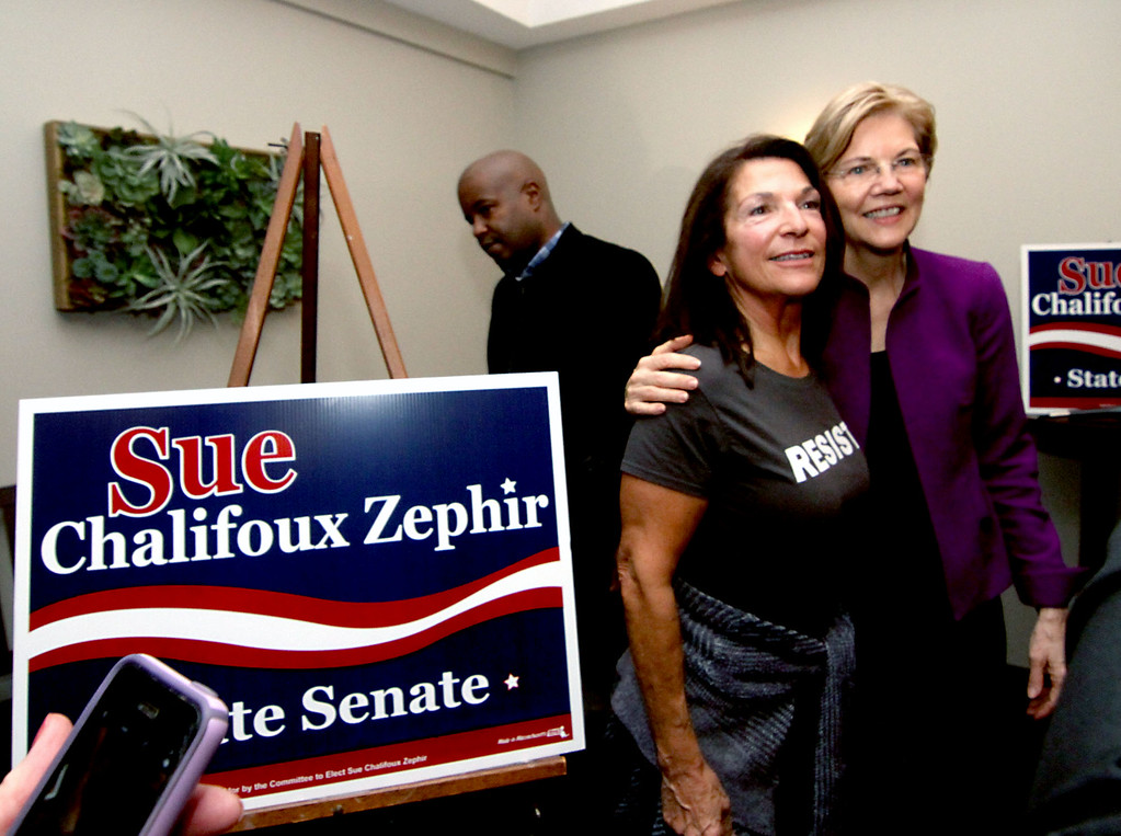 . Supporters of Sue Chalifoux Zephir, having photos taken with Sen. Elizabeth Warren, here Lois Delle Chiaie of Leominster and sporting a RESIST t-shirt. SUN/David H. Brow