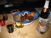 Gluehwein (aufgekocht) und Plaetzchen mit Lebkuchen
