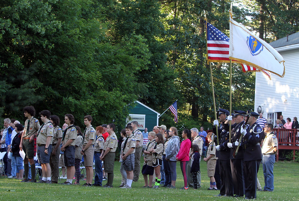 . Flag retirement ceremony for Flag Day at Nabnasset American Legion Post 437 in Westford. Westford Police color guard. (SUN/Julia Malakie)