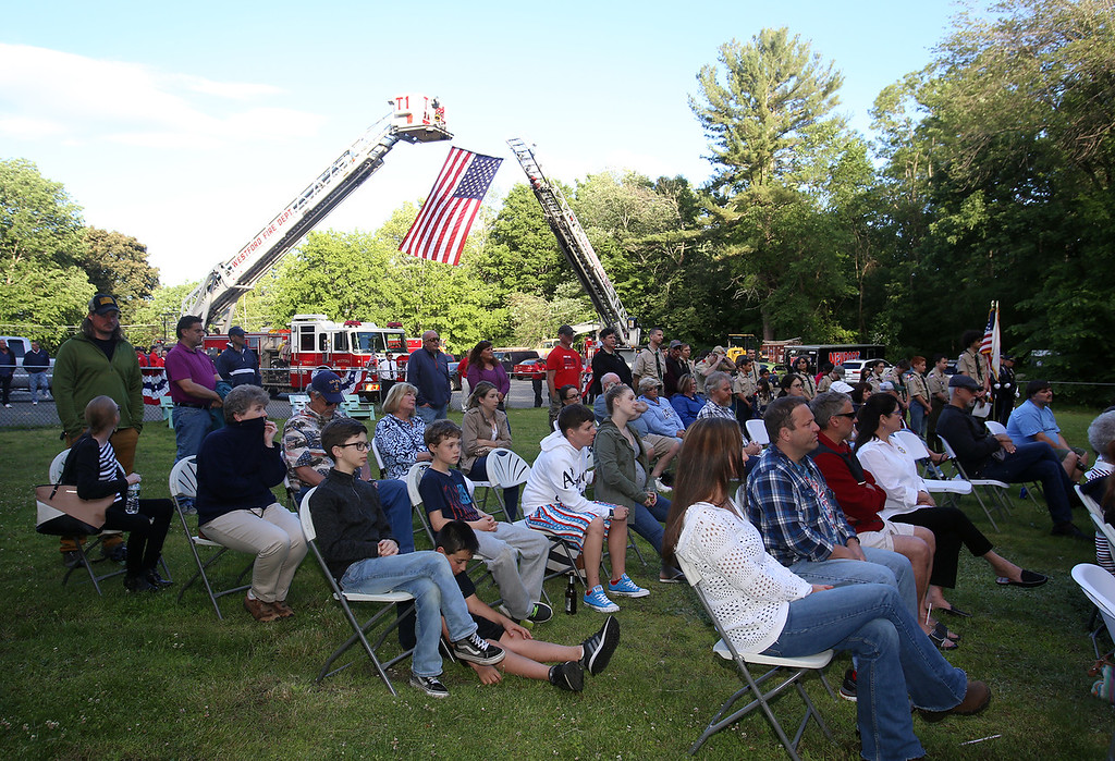 . Flag retirement ceremony for Flag Day at Nabnasset American Legion Post 437 in Westford.  (SUN/Julia Malakie)