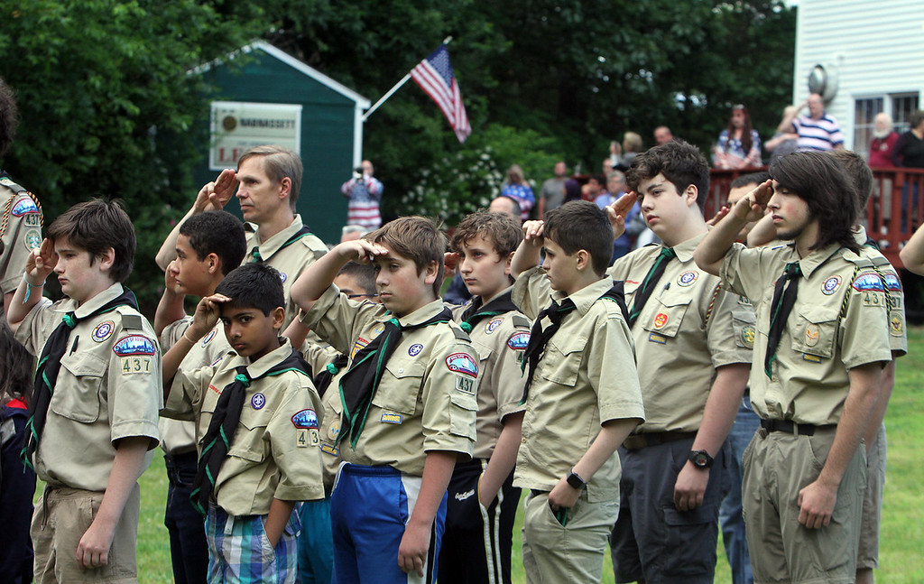 . Westford Boy Scout Troop 437 at flag retirement ceremony for Flag Day at Nabnasset American Legion Post 437 in Westford.  (SUN/Julia Malakie)
