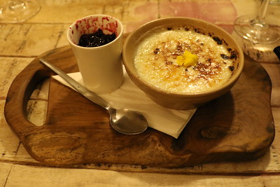 Evening Meal at The Stables at Cross Butts - Rice Pudding with Blackcurrant Coulis