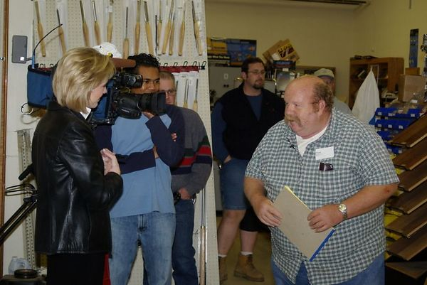 "<font size=""3"">A member being interviewed by a reporter from a local TV station </font><br>Return to <a href=""http://www.omahawoodworkers.com/"">Woodworkers Guild</a><br>"