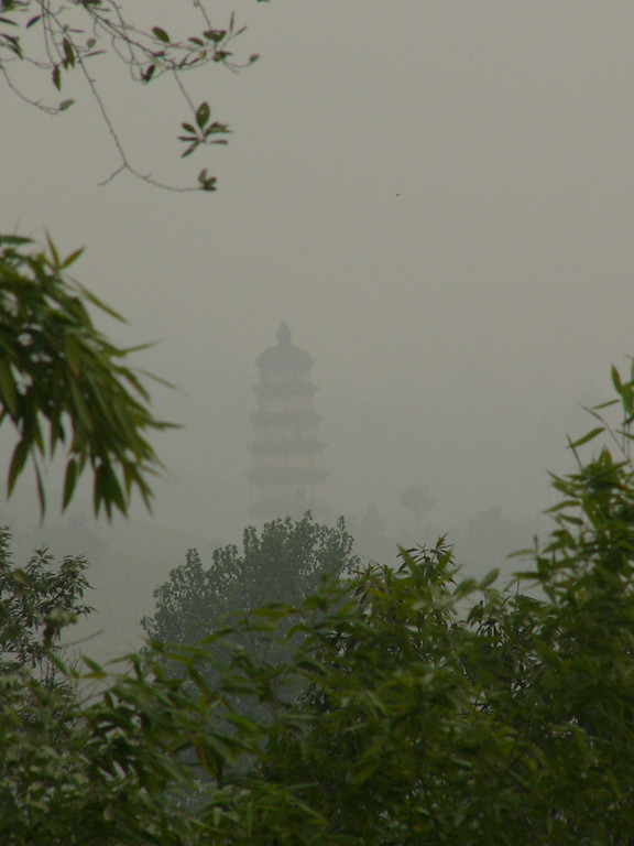 05Oct05_1536 Another rainy day in central China! This picture is of a temple, and is taken from a nearby hill, LouGuanTai. It is an old Nestorian temple, the Daqin pagoda 大秦塔. The Nestorians were a Christian sect which spread into China during the 7th century A.D..
