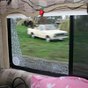 Our window shattered going over a bump in CA