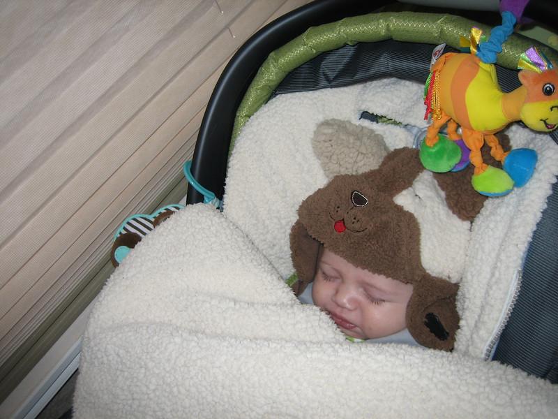 Ben sleeping on the road.
