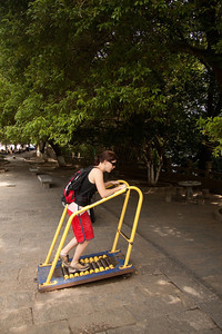 Cath testing the exercise equipment in Yangshuo