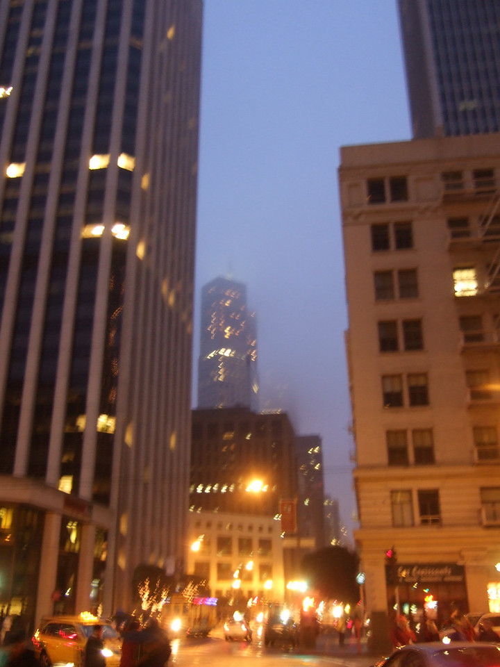 A foggy evening off Market Street.