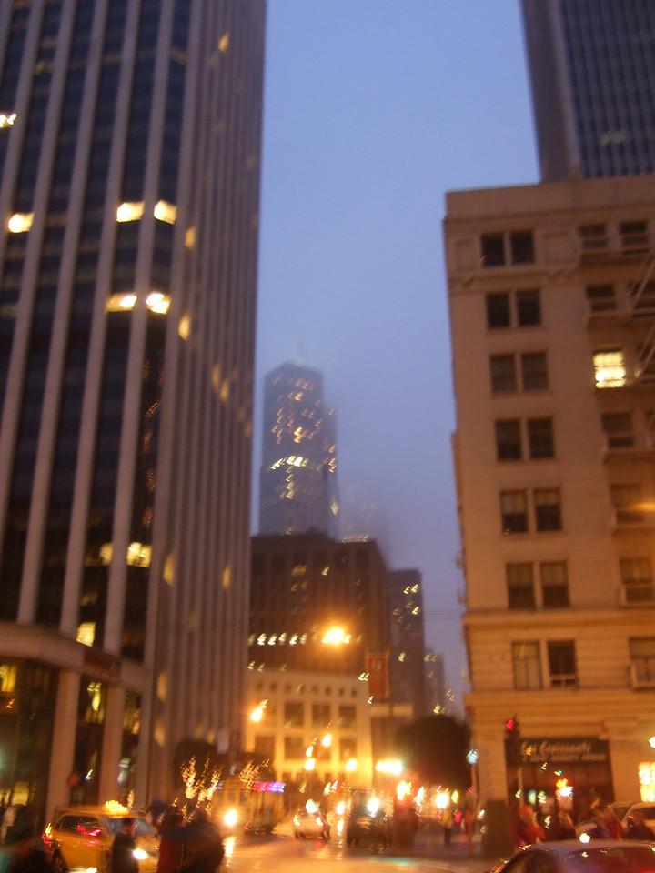 A foggy evening off Market Street.