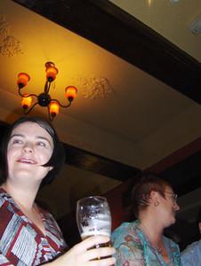 Sarah with pint