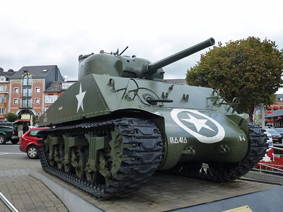 Sherman tank in the main square of Bastogne