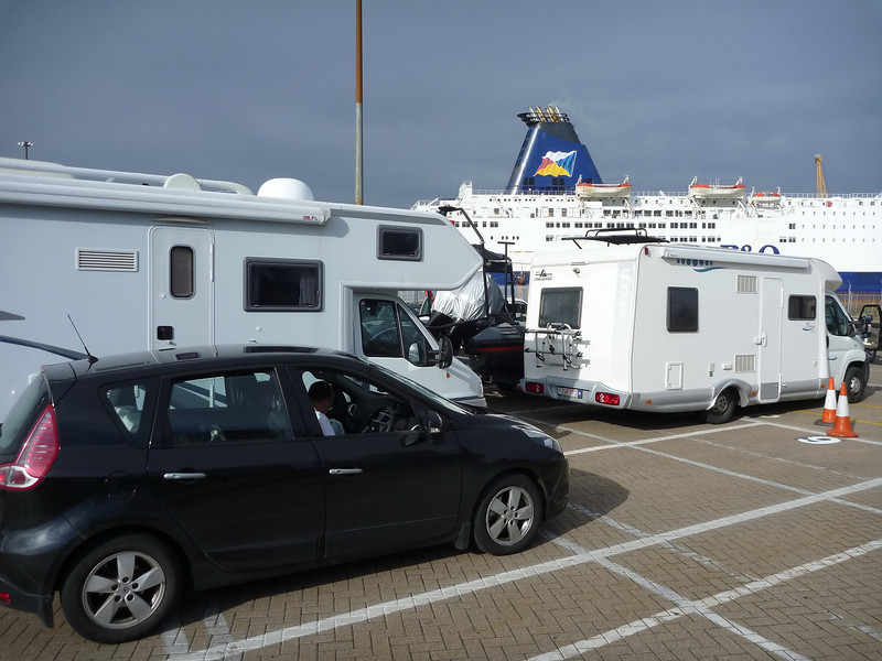 Waiting to board P and O ferry Hull to Zeebrugge