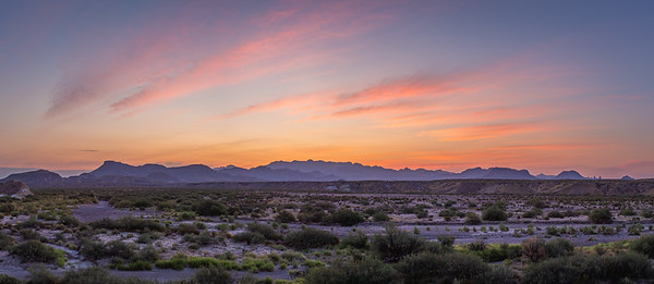 Sunrise over the Chisos, Big Bend - Panoramic