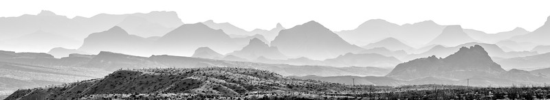 Desert Folds - Chisos Mountains, Big Bend - Panoramic