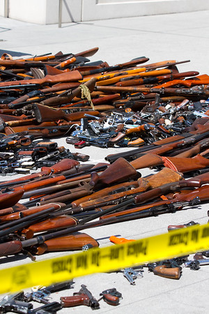 L.A. sculptor Victor Hugo made beautiful sculptures from guns collected in an LAPD buy back program .