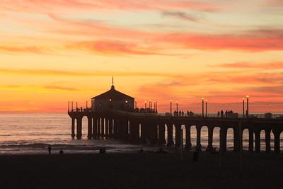 Manhattan Beach Pier Fiery November Sunset