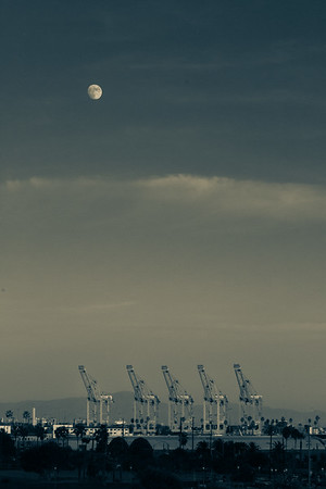 Moon and Cranes, Port of Los Angeles, San Pedro, California