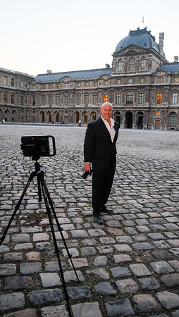 Behind the scenes, photo shoot at the Louvre in Paris.