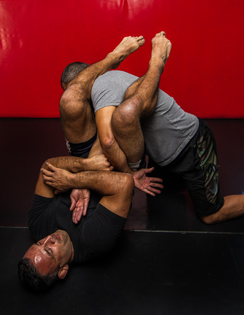 "UFC Veteran John ""The Bull"" Marsh demonstrates an arm bar."